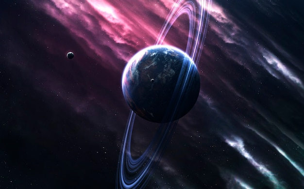 Onontgonnen planeten in de verre ruimte. deep space-afbeelding, sciencefictionfantasie in hoge resolutie, ideaal voor behang en print. elementen van deze afbeelding geleverd door nasa