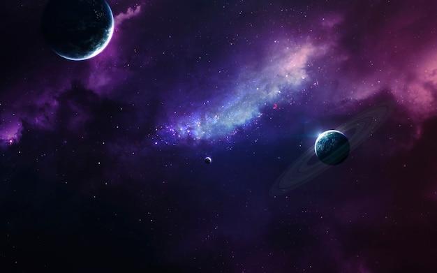 Onontgonnen planeten in de verre ruimte.