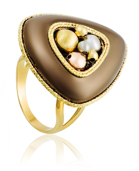 Onregelmatige vorm vrouwelijke ring van goud