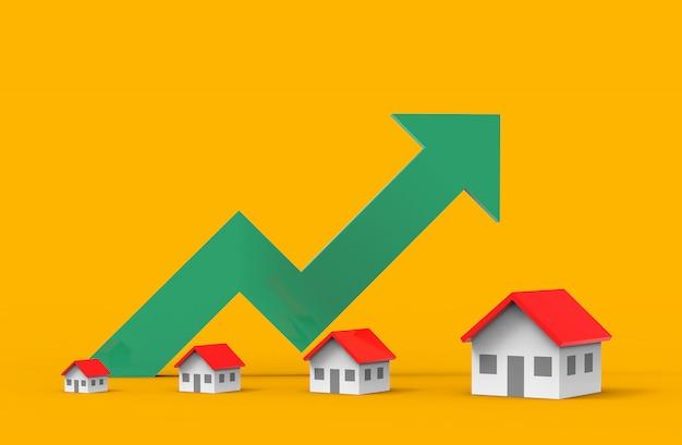 Onroerend goed bedrijfsgroei met groene grafiek. 3d illustratie.