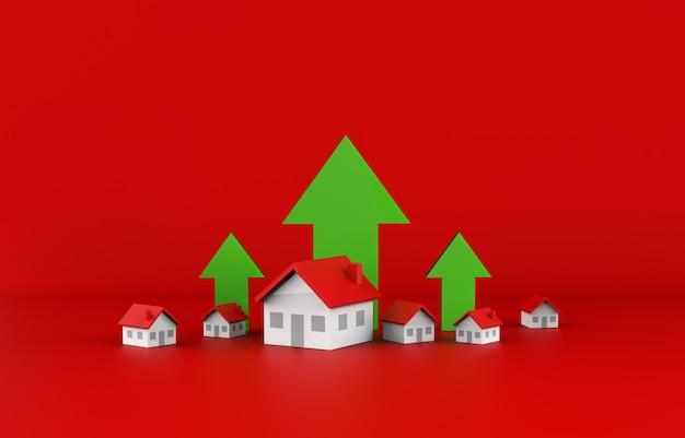 Onroerend goed bedrijfsgroei met groene pijl. 3d-afbeelding.