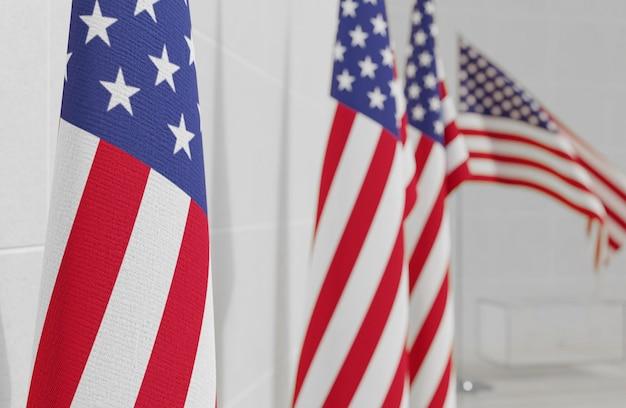 Ons verkiezingenconcept met de vlag van amerika