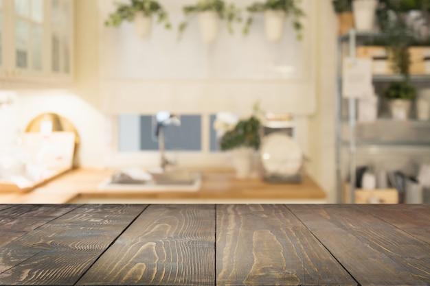 Onscherpe achtergrond moderne intreepupil pastel keuken of café met tafelblad en ruimte
