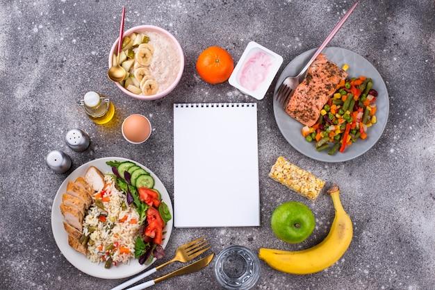 Ontbijt lunch en diner. evenwichtig menu
