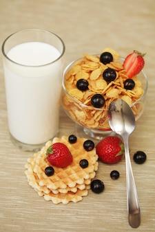 Ontbijt met muesli en melk