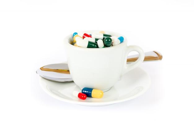 Ontbijt met verschillende pillen