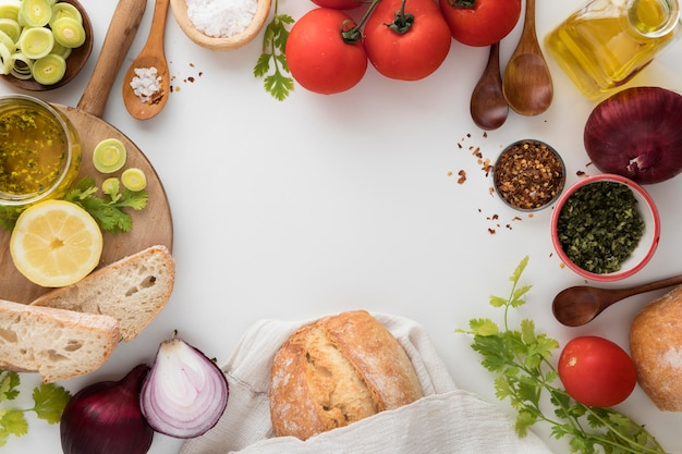 Ontbijtmaaltijd en kopieer ruimte bovenaanzicht
