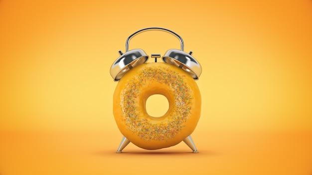 Ontbijttijd donut met de vorm van een klok 3d-rendering
