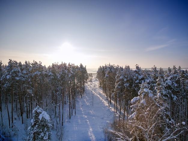 Ontbossing voor hoogspanningsleidingen luchtfoto winterbos boom in sneeuw zonnige dag