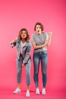 Ontevreden twee damesvrienden klaar om te vechten.
