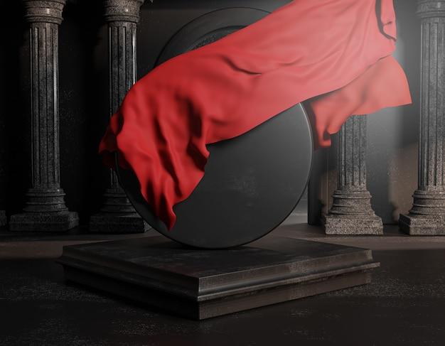 Onthul rode stoffen omslag van ronde zwarte stenen klassieke pilaren van kolommen. lege ruimte mockup sjabloon 3d-rendering