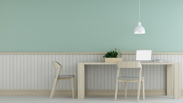 Ontspannen ruimte interieur minimale en wanddecoratie leeg in appartement-