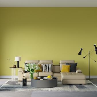 Ontwerp 3d render scène met bank voor de gele muur