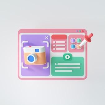 Ontwerp en ontwikkeling van een 3d website concept. zoekmachineoptimalisatie (seo) analyse, applicatie-ontwikkeling en programmering. 3d render illustratie