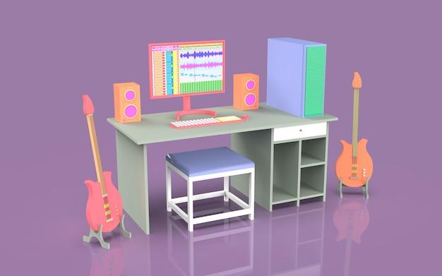 Ontwerp schattige studio muziekopname illustratie set met tafel en geluid audio productie arrangeur