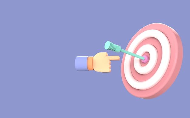 Ontwerp symbool pijl boord doel schattig illustratie strategie zakelijk 3d-rendering