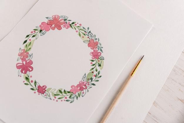 Ontwerp van bloemenlijst geschilderd met aquarellen op papier