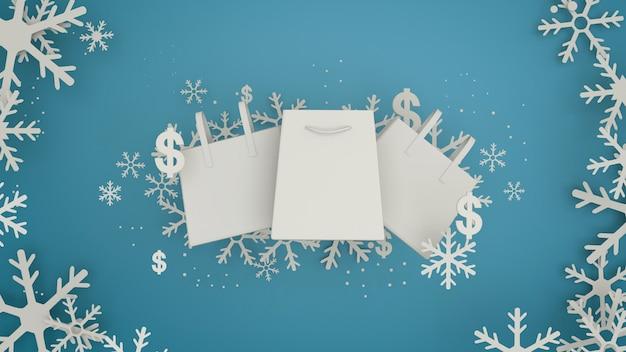 Ontwerp van de banner van de winterverkoop met witte sneeuwvlokken. papier kunststijl 3d-rendering.