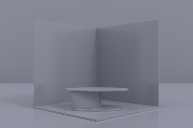 Ontwerp van displaystandaard. 3d-productweergave. 3d-weergave.