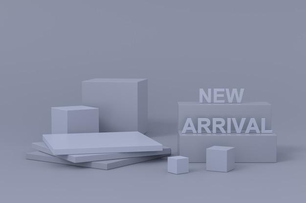 Ontwerp van displaystandaard met nieuwe aankomst. 3d-weergave.
