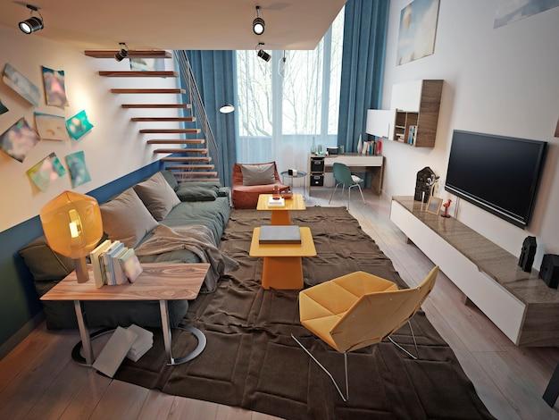 Ontwerp van een tienerkamer in loftstijl met een bank en tv-meubel en een trap naar het tweede niveau.
