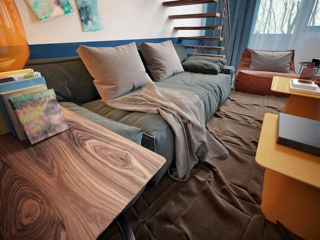 Ontwerp van een tienerkamer met een blauwe trendy bank en twee gele designtafels.