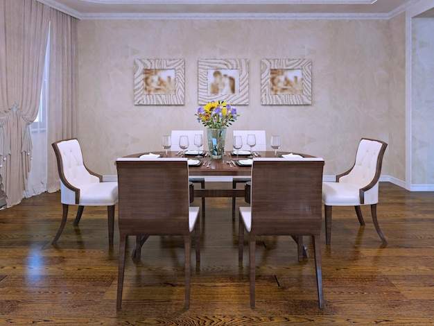 Ontwerp van eetkamer in woonhuis. mooie witte stoelen met houten carcas. houten tafel geserveerd in de kamer met crèmekleurige gipswanden. 3d render