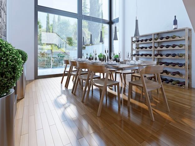 Ontwerp van eetkamer met bruin meubilair met een hoog plafond en panoramische ramen zorgen voor een goed uitzicht.