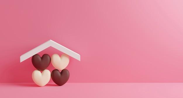 Ontwerp van het huis het zoete huis van chocoladeharten in huis op roze document achtergrond met 3d exemplaarruimte geeft terug