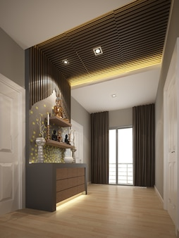 Ontwerp van interieur boeddha kamer .3d-weergave