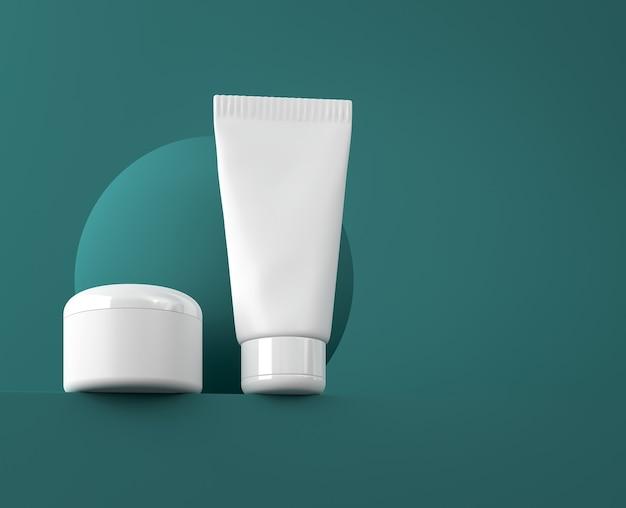 Ontwerp van natuurlijke cosmetische crème, serum, huidverzorging lege flesverpakking. biologisch biologisch product. presentatie sjabloon. abstracte achtergrond. 3d illustratie