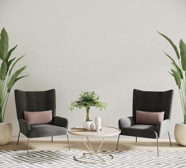 Ontwerp van woonkamer met fauteuil en planten