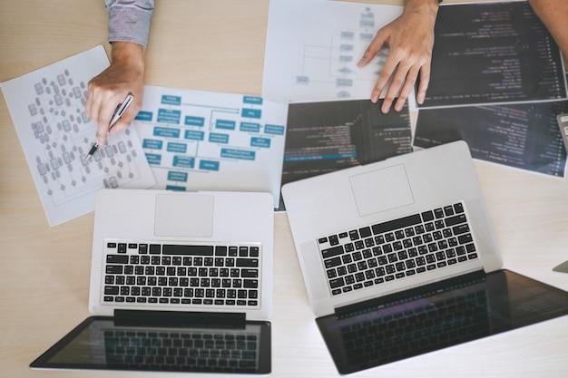 Ontwikkelaar programmeur ontmoeten en brainstormen en programmeren in website die met software werkt
