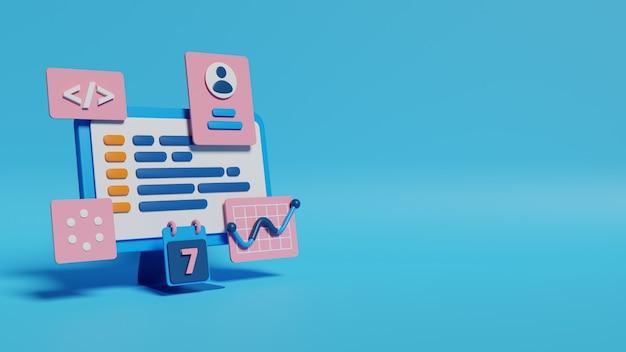 Ontwikkeling en programmering 3d render illustratie