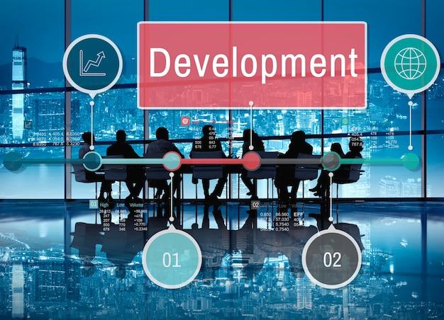 Ontwikkeling groei vooruitgang pictogram concept