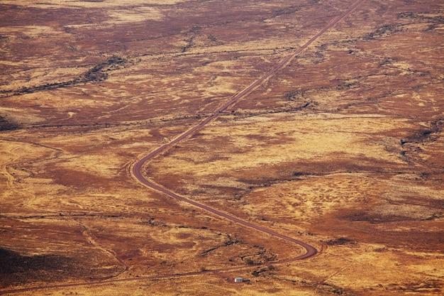 Onverharde weg in afrikaanse struik, namibië