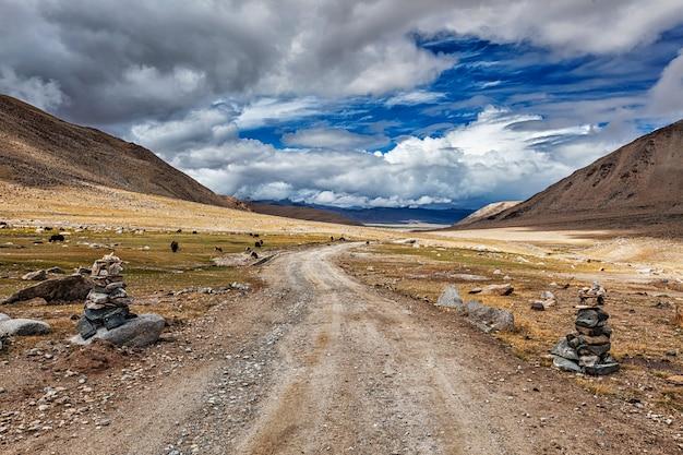 Onverharde weg in de himalaya