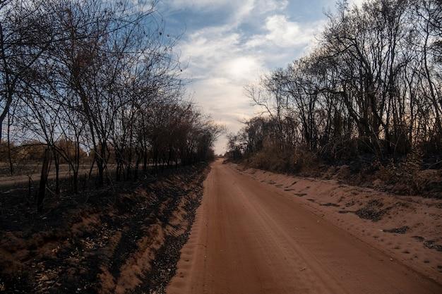 Onverharde weg met vegetatie allemaal verbrand na brand.