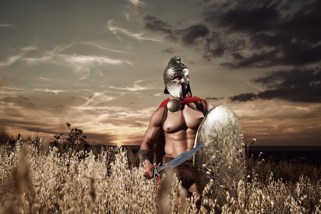 Onverschrokken jonge spartaanse krijger poseren in het veld