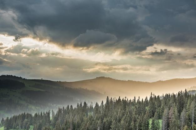 Onweerswolken over de bergen en het bos tijdens zonsondergang