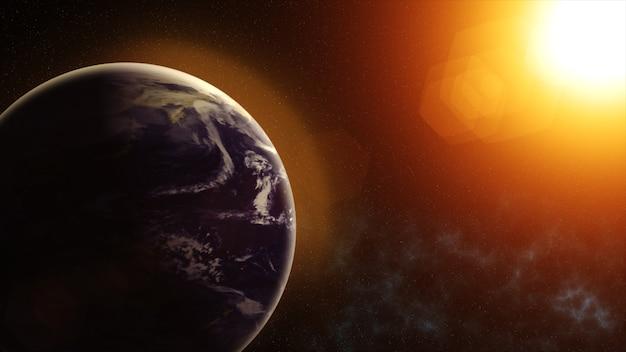 Onze planeet aarde, de zon schijnt op de planeet aarde gezien vanuit de ruimte
