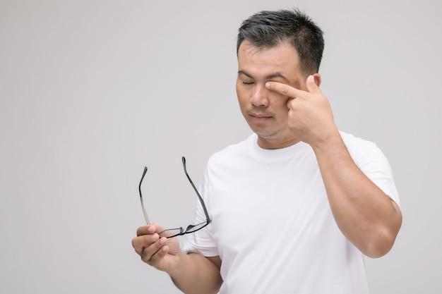 Oogirritatie concept: portret van aziatische man in houding van oog moe, irritatie of probleem over zijn oog.
