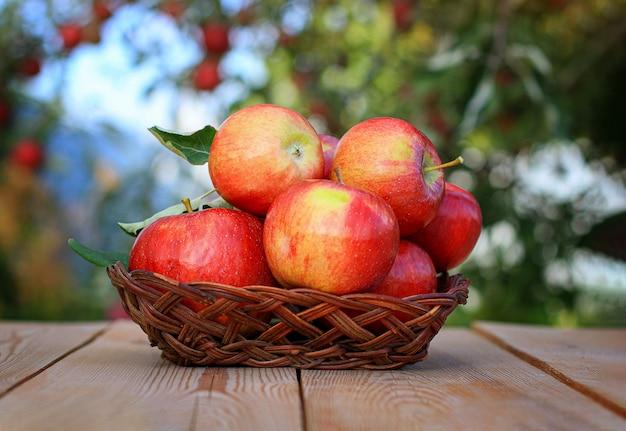 Oogst appels. rode appels in een rieten vaas op een oude houten tafel