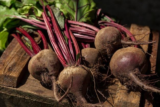 Oogst van verse jonge bieten met toppen op een houten kist. nieuwe oogst, vitamines en gezonde voeding. detailopname.