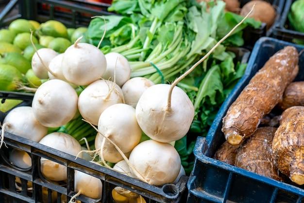Oogst vers witte radijs op een marktkraam. groente.