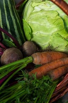 Oogst verse groenten in een mand in de tuin op een zonnige dag. gezonde voeding en vitamines. detailopname. verticaal.