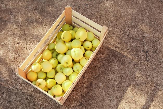 Oogst: witte appels in een houten kist. producten klaar voor export. import van seizoensgoederen.