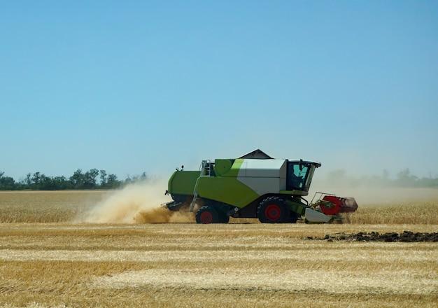 Oogsten. een maaidorser oogst een tarwegewas op een veld in de regio rostov in rusland.
