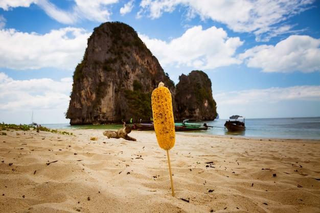 Oor van gebakken maïs op stok vast in zand op tropisch strand close-up bergzee en blauwe lucht