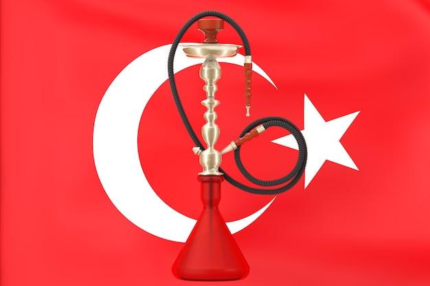 Oosterse glazen waterpijp met turkse vlag op een witte achtergrond